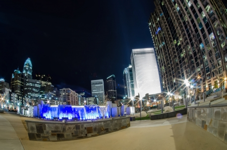 nc: december 27, 2014, charlotte, nc, usa - charlotte skyline near romare bearden park Editorial