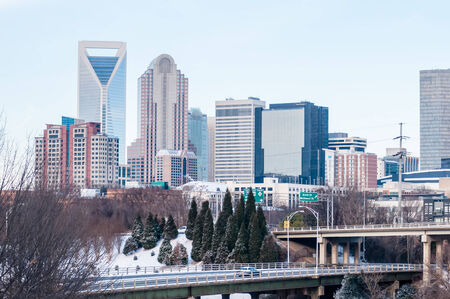 qc: charlotte nc skyline covered in snow in january 2014 Editorial