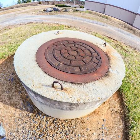 round concrete manhole unfinished construction 스톡 콘텐츠