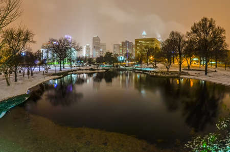 qc: charlotte nc skyline covered in snow in january 2014 Stock Photo