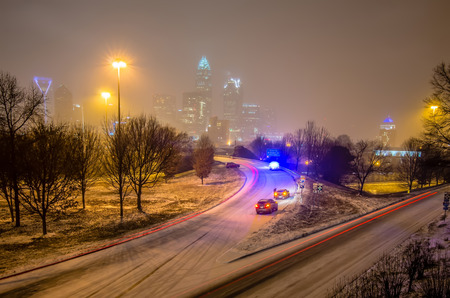 nc: charlotte nc usa skyline during and after winter snow storm in january Stock Photo