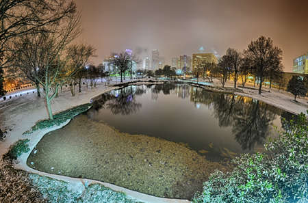 charlotte nc skyline covered in snow in january 2014 Stock Photo