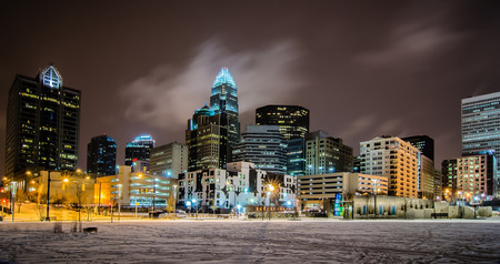 charlotte queen city skyline near romare bearden park in winter snow photo