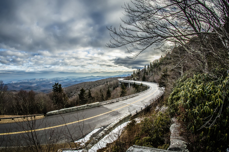 hardwoods: linn cove viaduct during winter near blowing rock nc