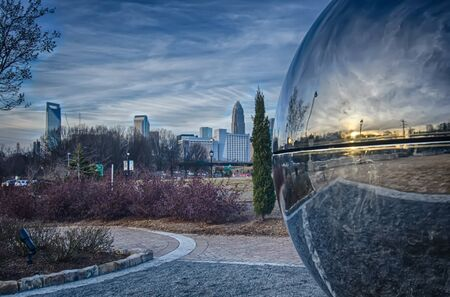 nc: view of charlotte nc skyline from midtown park