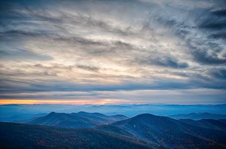 sunset view over blue ridge mountains photo