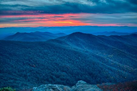 sunset view over blue ridge mountains photo