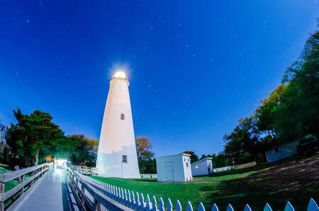 The Ocracoke Lighthouse on Ocracoke Island on the North Carolina coast after sunset photo