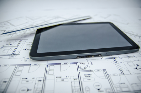 tablet and architectural construction design document tools  photo