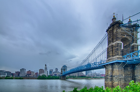Cincinnati skyline. Image of Cincinnati skyline and historic John A. Roebling suspension bridge cross Ohio River. photo