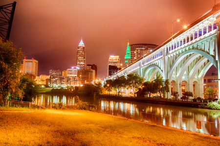 Cleveland. Image of Cleveland downtown at night Stock Photo