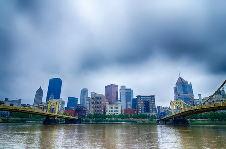 allegheny: Pittsburgh, Pennsylvania - city in the United States. Skyline with Allegheny and Monongahela River.