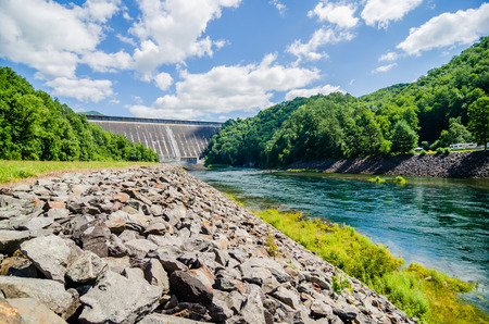 views of man made dam at lake fontana