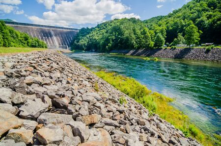 hydroelectricity: views of man made dam at lake fontana