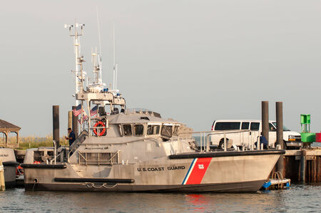 obx: Hatteras, NC, USA - August 8, 2014 : u.s. coast guard boats at cape hatteras uoter banks