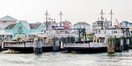 obx: Hatteras, NC, USA - August 8, 2014 :  ferry transport boat at cape hatteras outer banks