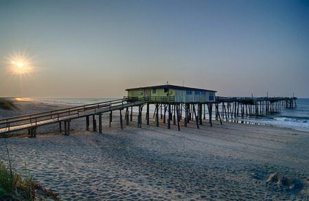 Abandoned North Carolina Fishing Pier in Avon Outer banks OBX Cape Hatteras National Seashore Stock Photo