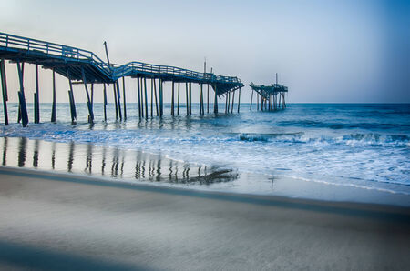 avon: Abandoned North Carolina Fishing Pier in Avon Outer banks OBX Cape Hatteras National Seashore Stock Photo