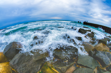 the throughout: eroding    coastlines throughout the east coast  and around the world Stock Photo