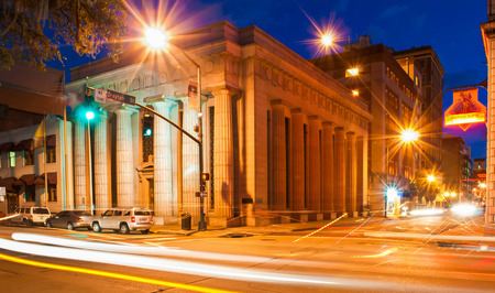 downtown city streets in Savannah, Georgia at night