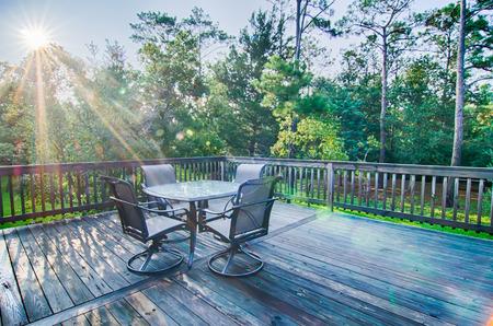 porches: beach house porch deck and patio set at sunrise