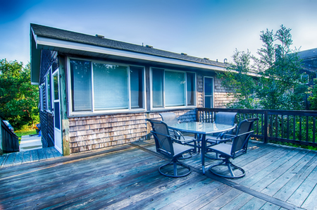 windows: beach house porch deck and patio set at sunrise