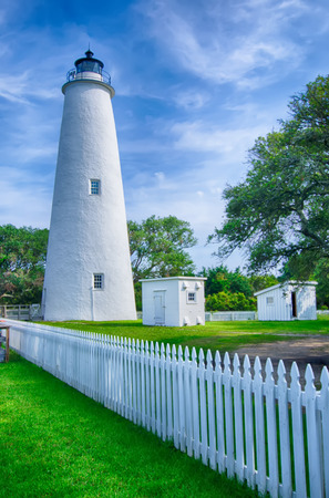navigational light: The Ocracoke Lighthouse and Keepers Dwelling on Ocracoke Island of North Carolinas Outer Banks Stock Photo