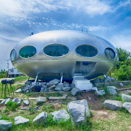 frisco: Frisco, NC-August 9:   mass-produced Futuro house. The Futuro is a house designed by Matti Suuronen. August 09, 2014 in Frisco,NC