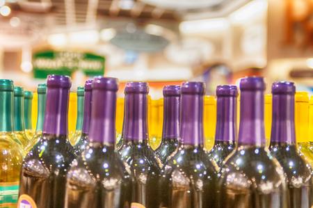Bottles of wine on display in store