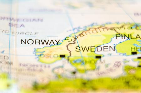 지도에 노르웨이 국가