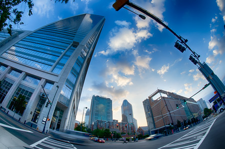 nc: morning city skyline and streets in charlotte nc