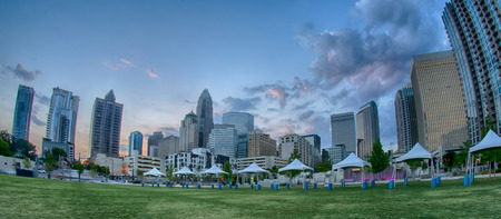 August 29, 2014, Charlotte, NC - view of Charlotte skyline at night near Romare Bearden park in the morning