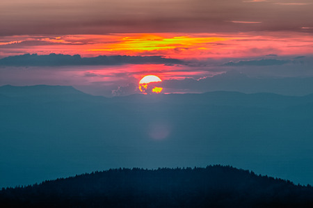 great smokies: Blue Ridge Parkway Autumn Sunset over Appalachian Mountains  Stock Photo