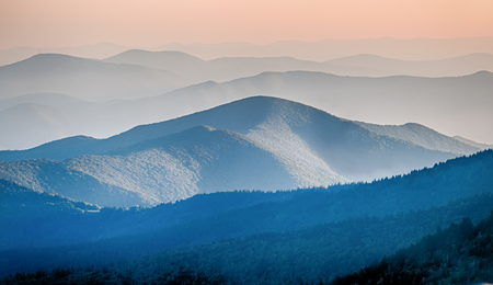 Panorama  of mountain ridges silhouettes