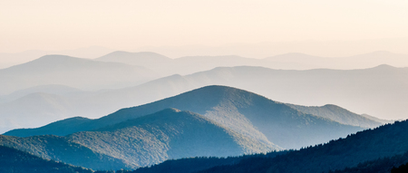 ridgeline: The simple layers of the Smokies at sunset - Smoky Mountain Nat. Park, USA. Stock Photo