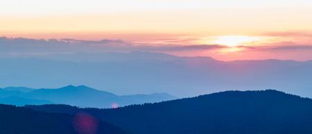 smokies: Blue Ridge Parkway Autumn Sunset over Appalachian Mountains  Stock Photo