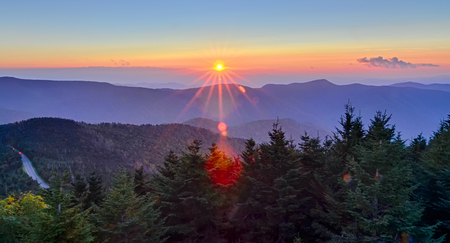 Blue Ridge Parkway Autumn Sunset over Appalachian Mountains  版權商用圖片