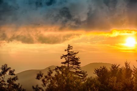 wnc: Blue Ridge Parkway Autumn Sunset over Appalachian Mountains  Stock Photo
