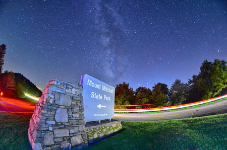 appalachian trail sign: midnight at mount mitchell entrance sign