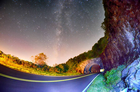 craggy: The Craggy Pinnacle Tunnel, on the Blue Ridge Parkway in North Carolina at night Stock Photo