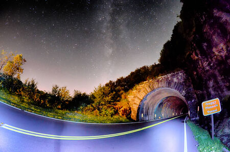 The Craggy Pinnacle Tunnel, on the Blue Ridge Parkway in North Carolina at night photo