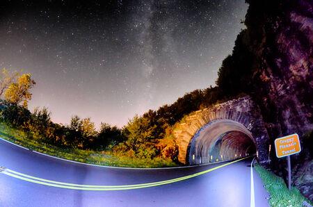 north ridge: The Craggy Pinnacle Tunnel, on the Blue Ridge Parkway in North Carolina at night Stock Photo