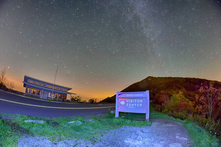 craggy: The Craggy Pinnacle visitors center at night