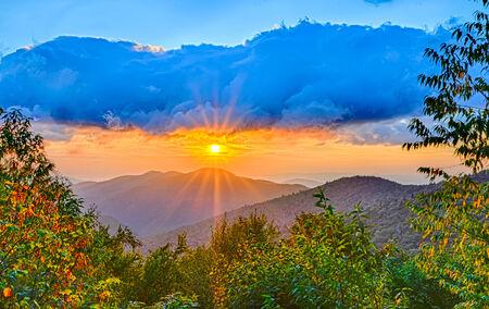 wnc: Blue Ridge Parkway late summer Appalachian Mountains Sunset Western NC Scenic Landscape vacation destination Stock Photo