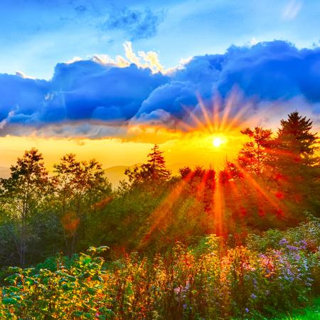 Blue Ridge Parkway late summer Appalachian Mountains Sunset Western NC Scenic Landscape vacation destination photo