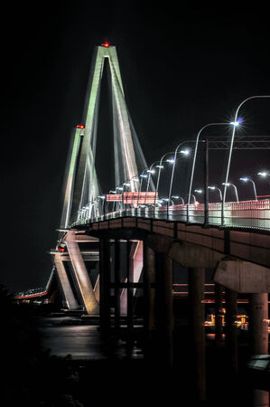 cooper: Cooper River Bridge at night Charleston South Carolina Stock Photo