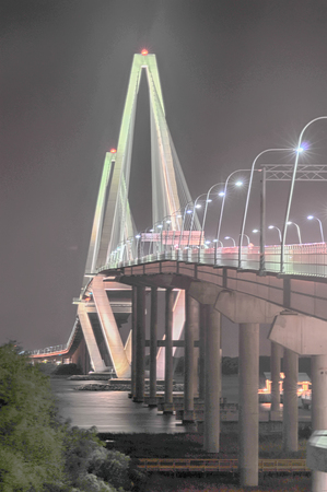 cooper: Cooper River Bridge at night Charleston South Carolina Stock Photo