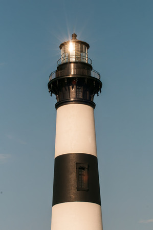 nags: Black and white striped lighthouse at Bodie Island on the outer banks of North Carolina Stock Photo