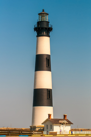 Black and white striped lighthouse at Bodie Island on the outer banks of North Carolina Stock Photo