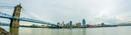 A panorama of Cincinnati Ohio under a cloudy sky photo
